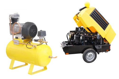 The image of a movable compressor under the white background
